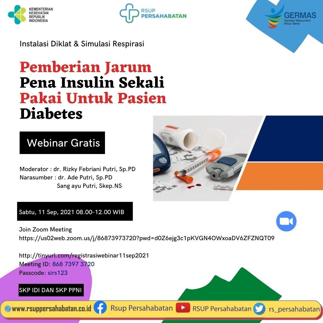 Webinar Pemberian Jarum Pena Insulin Sekali Pakai Untuk Pasien Diabetes