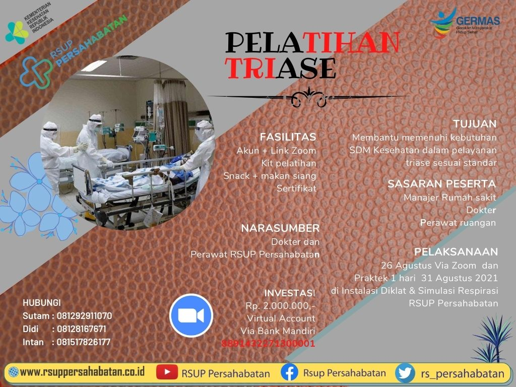 Pelatihan Triase Bagi Dokter Umum Dokter Spesialis & Perawat Bulan Agustus 2021