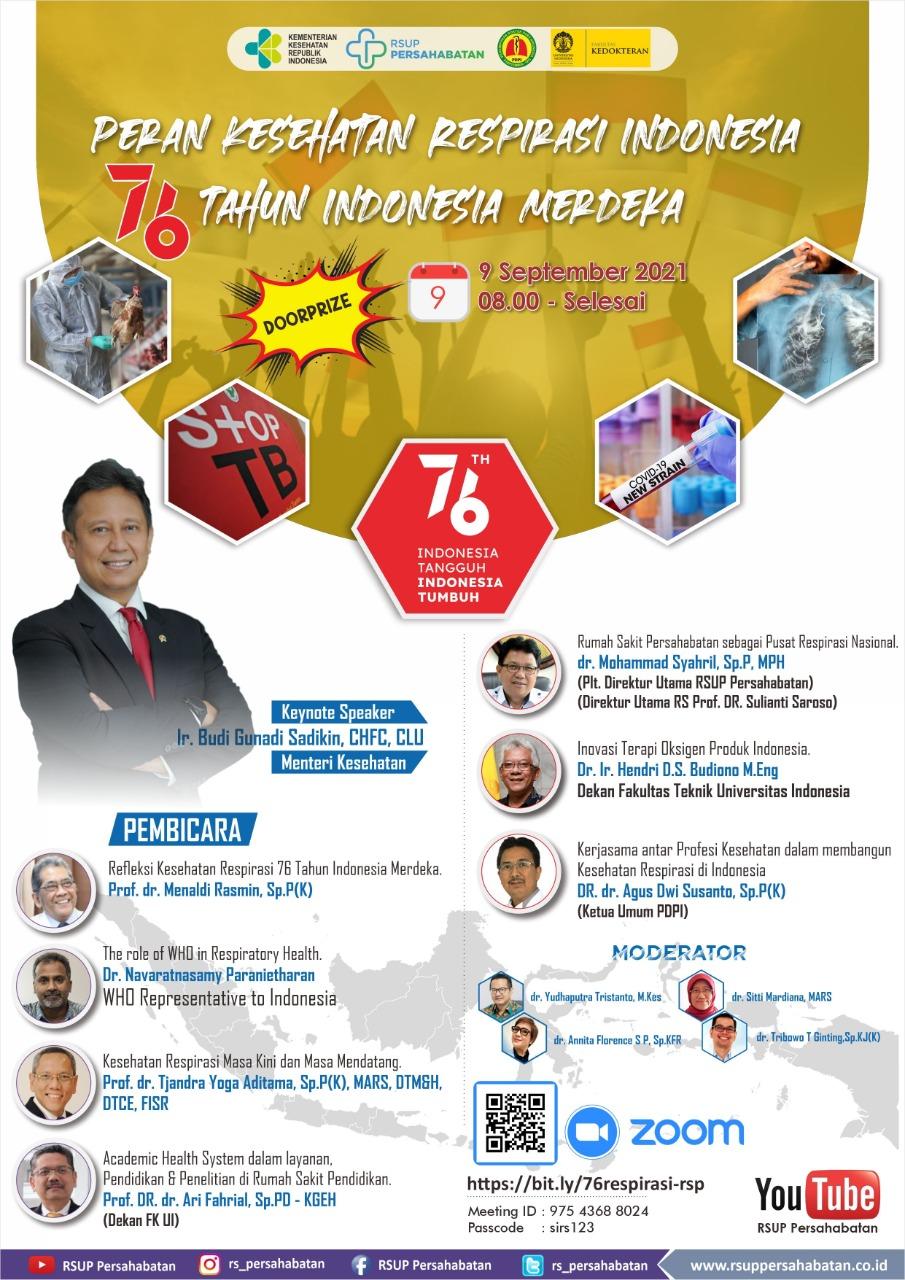 Peran Kesehatan Respirasi Indonesia 76 Tahun Indonesia Merdeka 9 September 2021