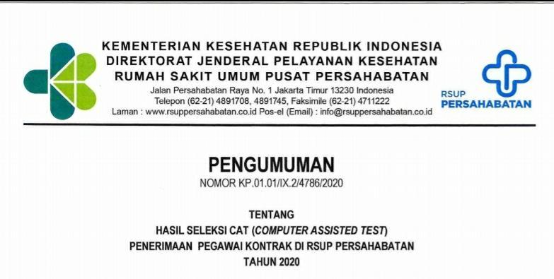 Hasil Seleksi CAT Penerimaan Pegawai Kontrak di RSUP Persahabatan Tahun 2020