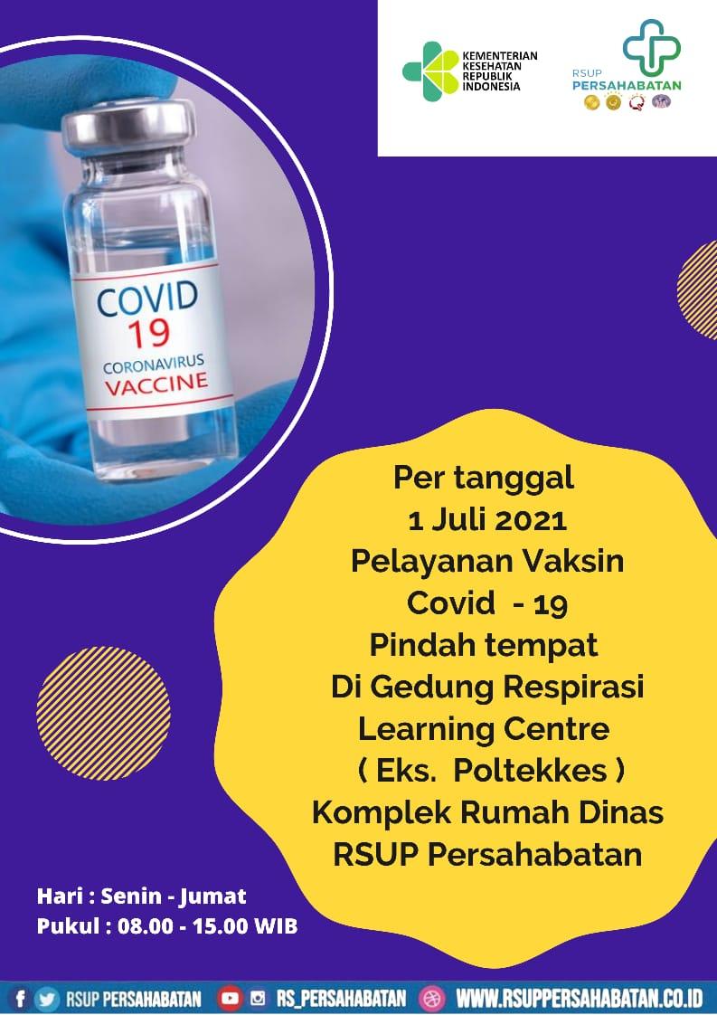 Pelayanan Vaksin Covid- 19 Pindah Tempat