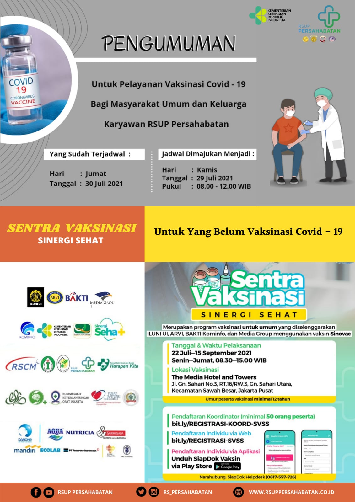 Pelayanan Vaksin Covid - 19 Bagi Masyarakat Umum Dan Keluarga Karyawan RSUP Persahabatan
