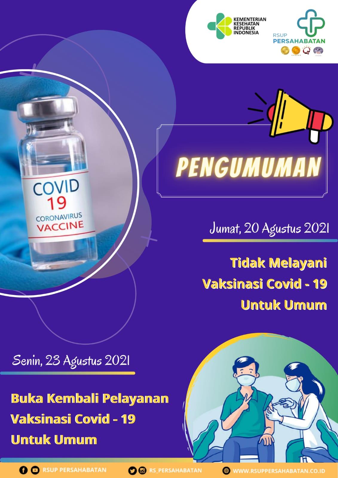 Tidak Melayani Vaksin Covid-19 Untuk Umum