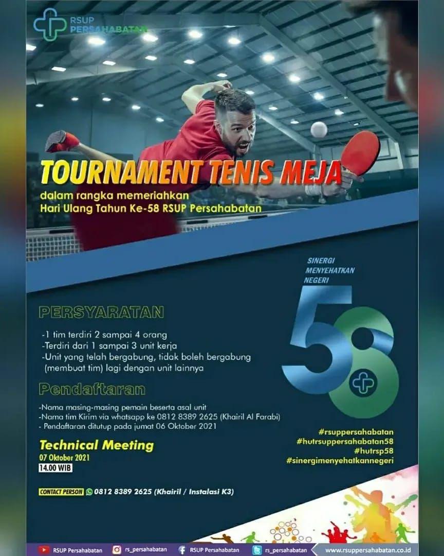 Tournament Tenis Meja Dalam Rangka HUT ke-58 RSUP Persahabatan