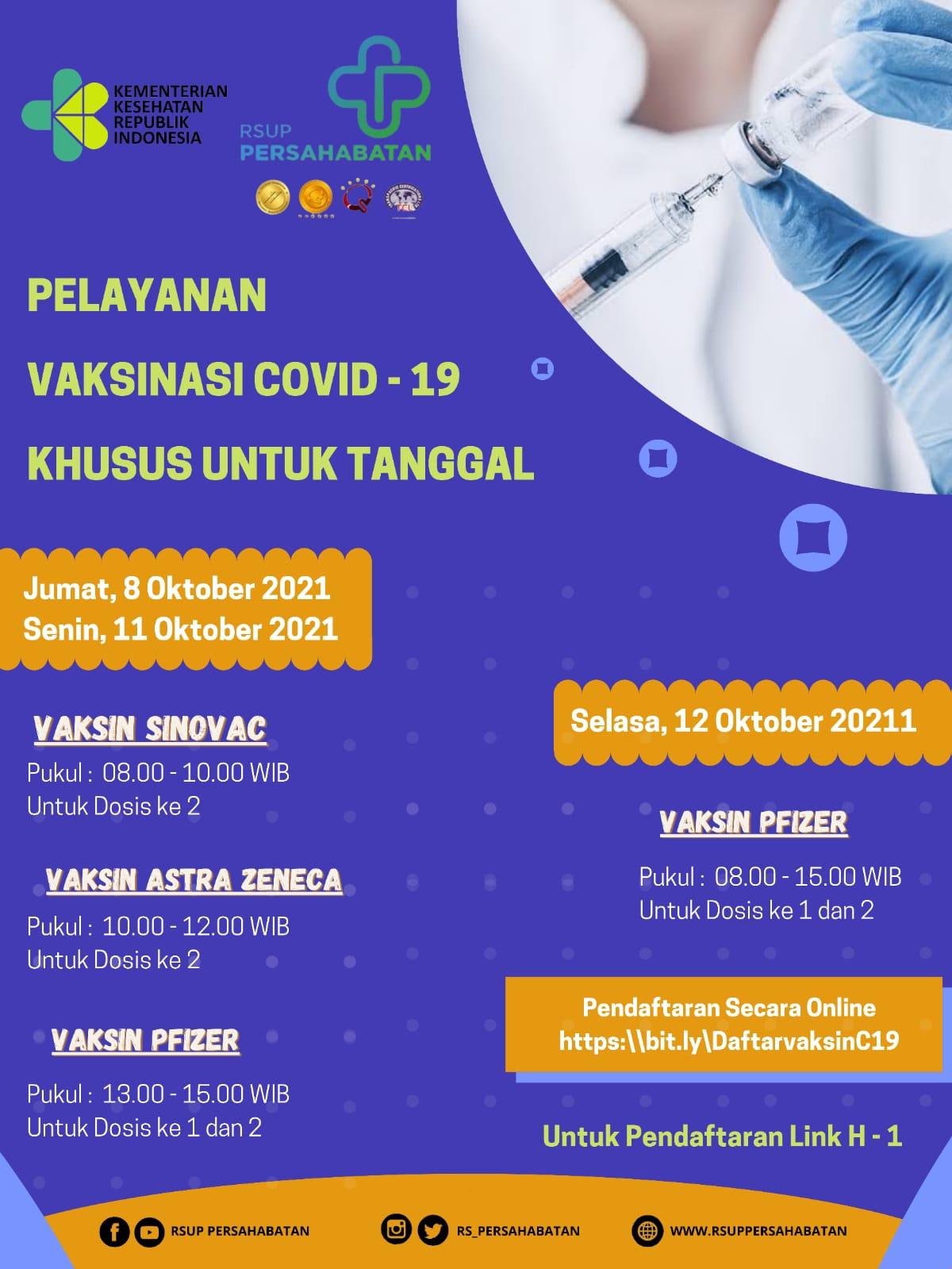 Pelayanan Vaksinasi Covid-19 Vaksin Sinovac, Astra Zeneca dan Pfizer